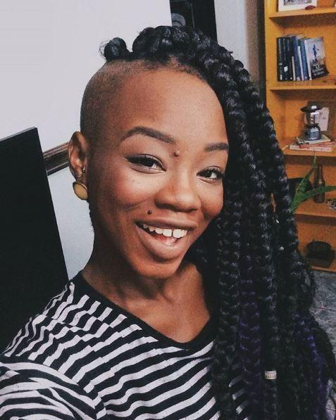 Half shaven half thick box braids hairstyle - Instagram