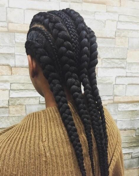 goddess braids ideas: various thickness braids