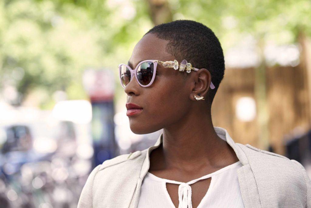 black woman with a short buzz cut haircut