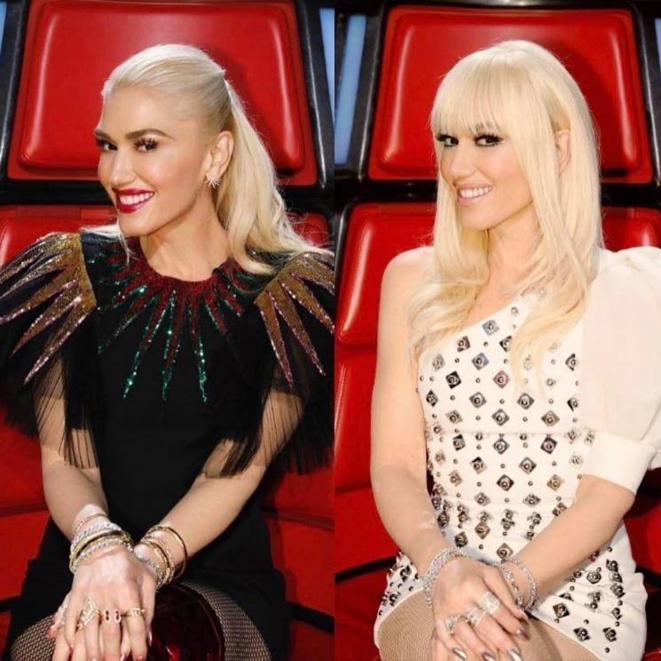 Gwen Stefani - Instagram - Before and after - Choppy bangs - Blonde hair
