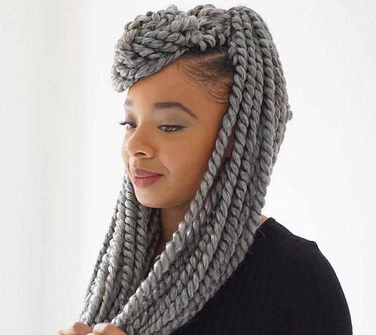 Crochet twist braids with grey Havana mambo hair - Instagram