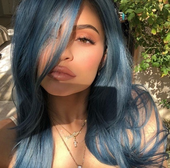 kylie jenner at coachella festival with denim blue dyed hair