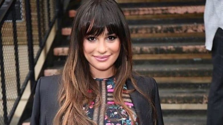 Lea Michele - Long balayage brown hair with bangs - Instagram