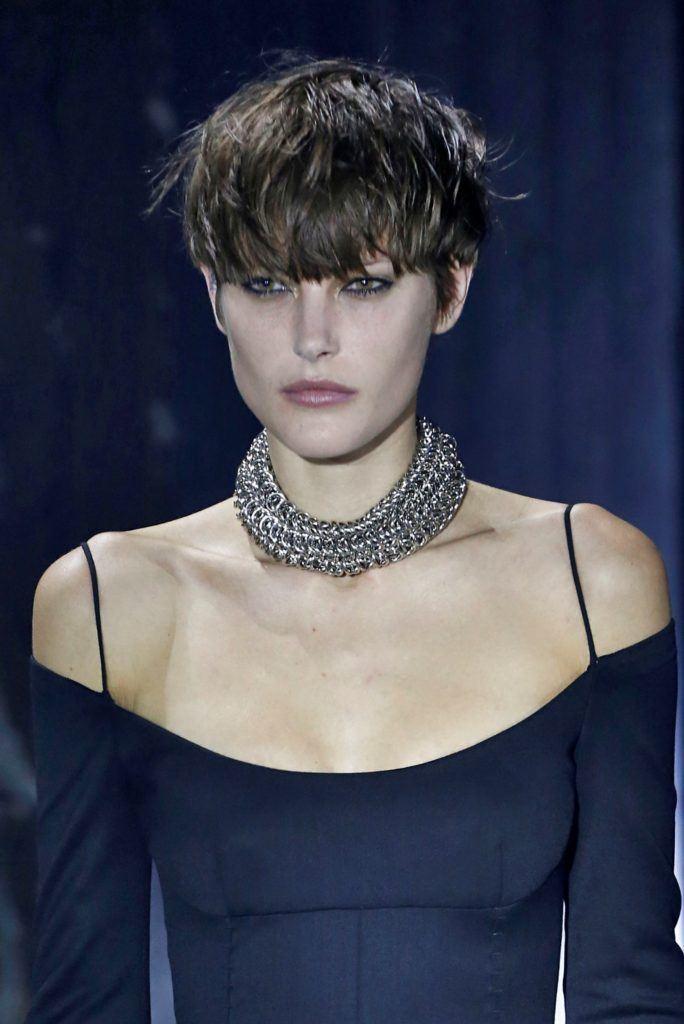 Alexander Wang model with a brunette mushroom cut