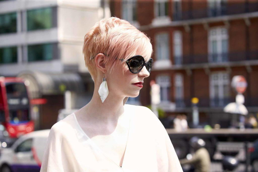 pink pixie crop androgynous hair