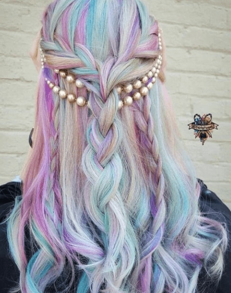 back view image of woman with long unicorn hair and pearls - long hairstyles 2017