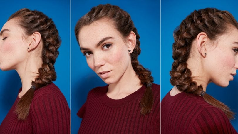 Side French braid how-to: Collage of three images of a brunette woman with a side French braid, wearing a burgundy knit