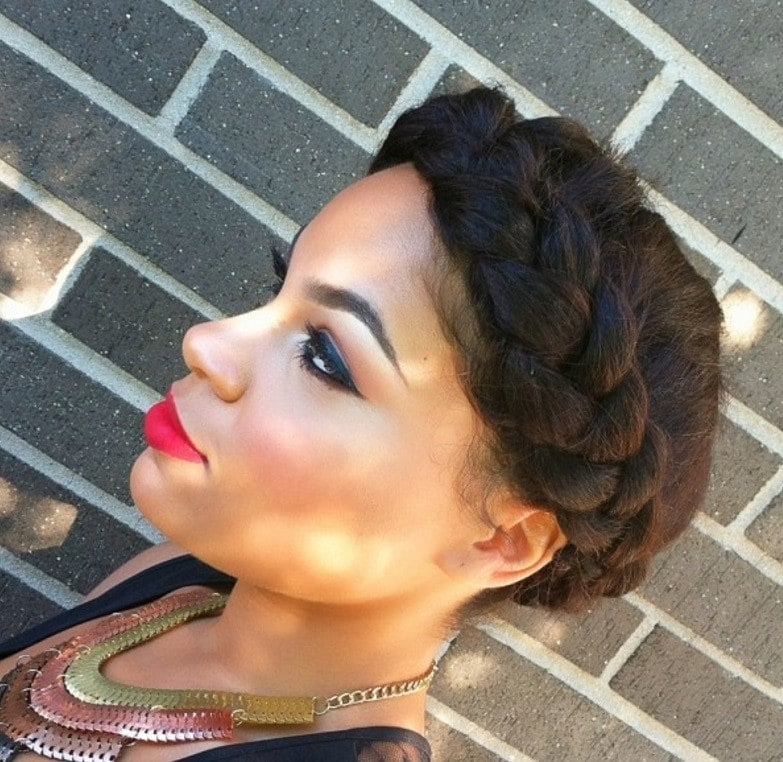 halo braid african american hair: model with halo braided short natural hair