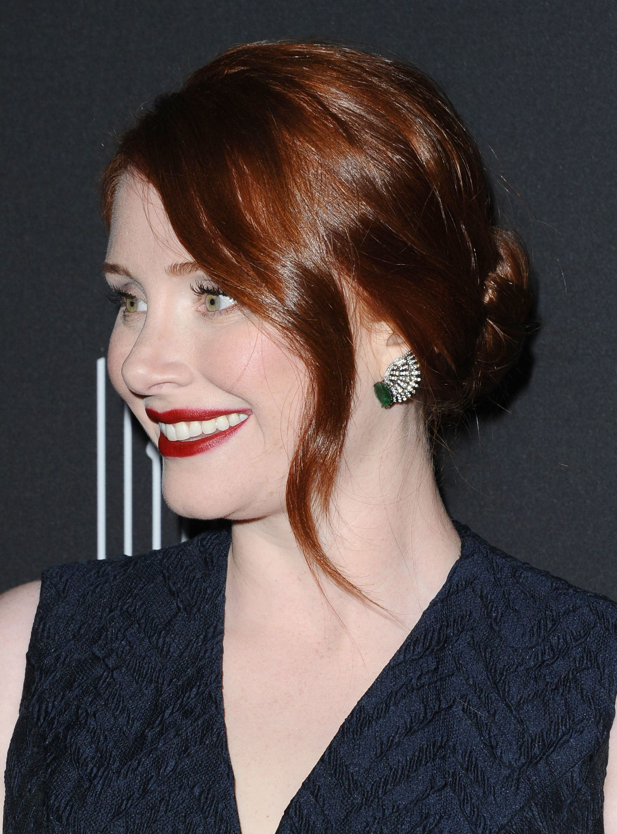 bryce howard with her dark mahogany hair in a chignon
