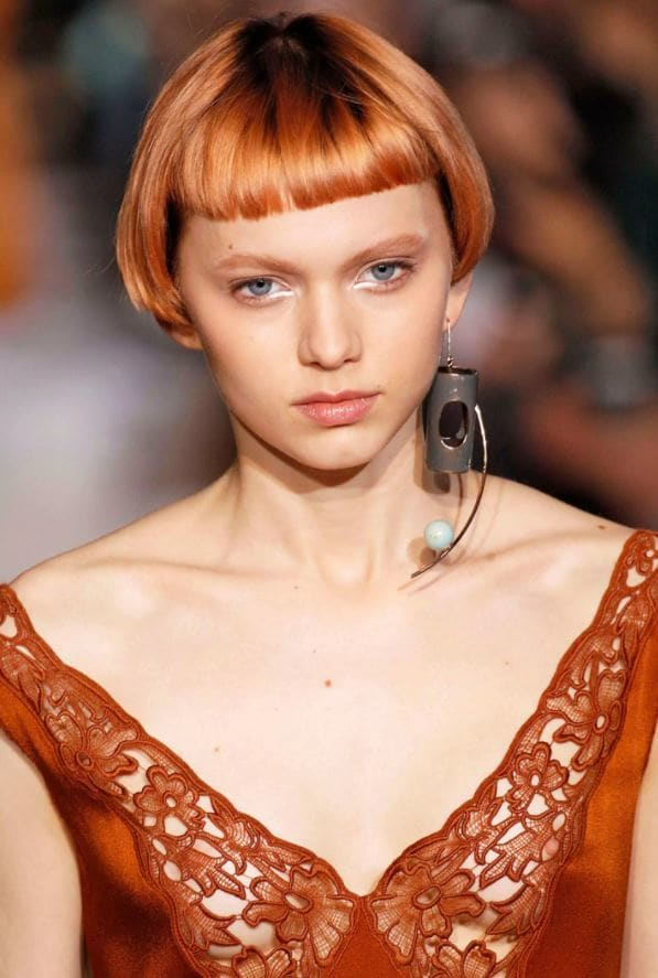 strawberry blonde hair - micro bangs - short hair - fashion show