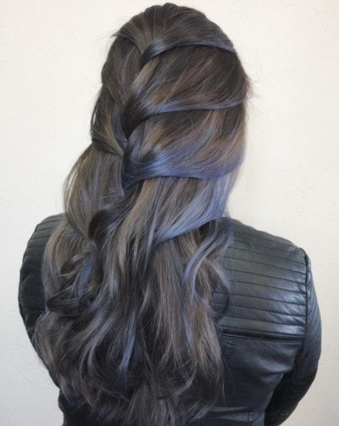 graphite grey coloured hair in a french plait style
