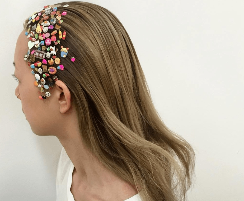 hair model with hair stickers