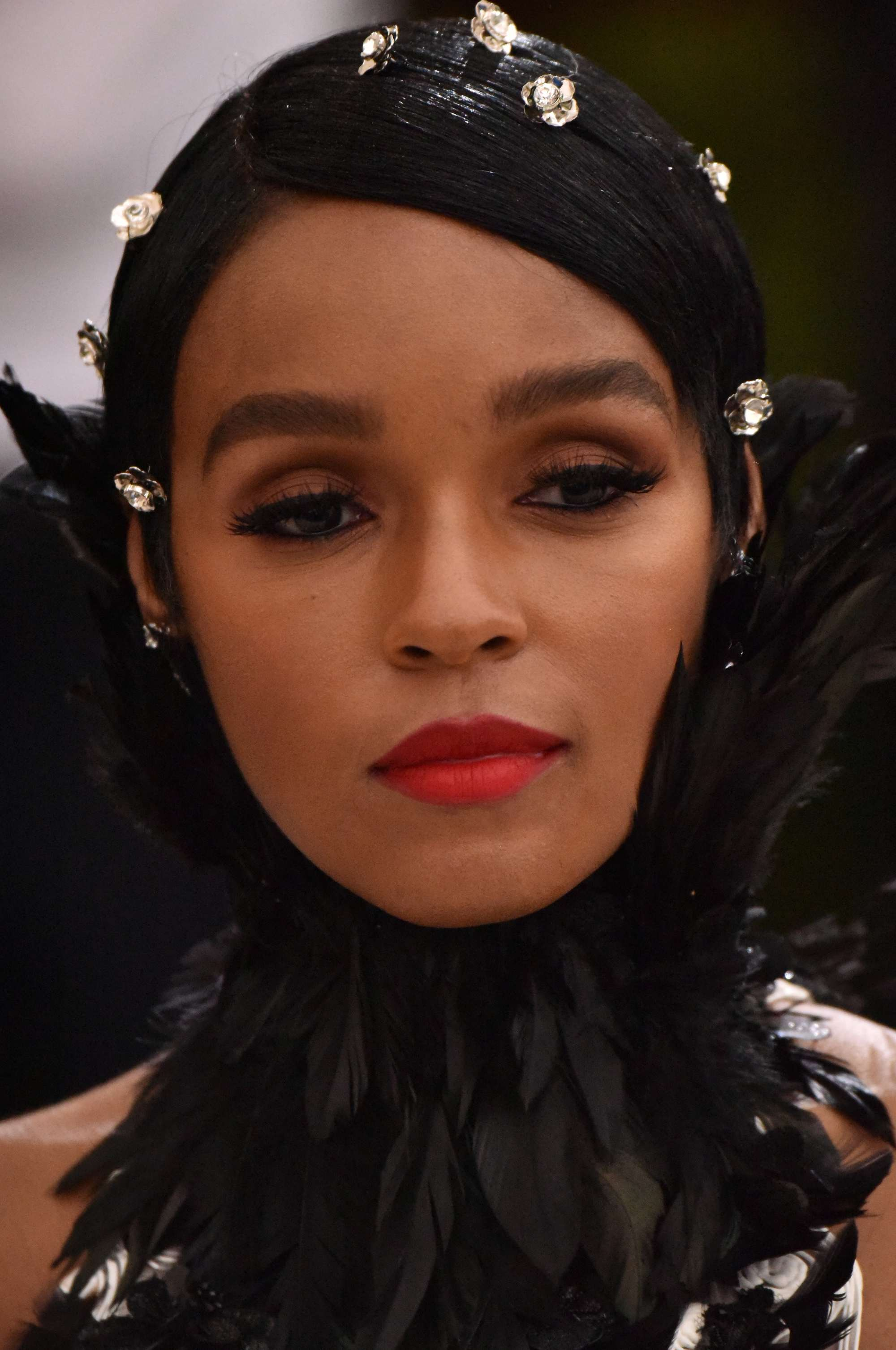 janelle monae with hair stickers in her hair at the met gala