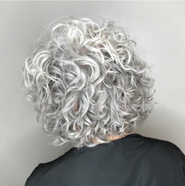 Perm Hair - tight silver perm on bob hair
