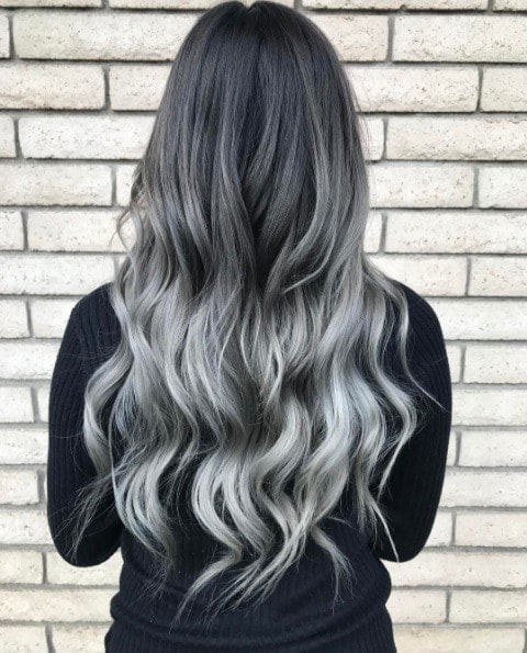 long curly dark to silver ombre hair