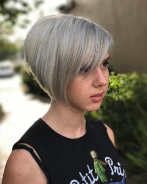 girl with a grey asymmetric pixie haircut