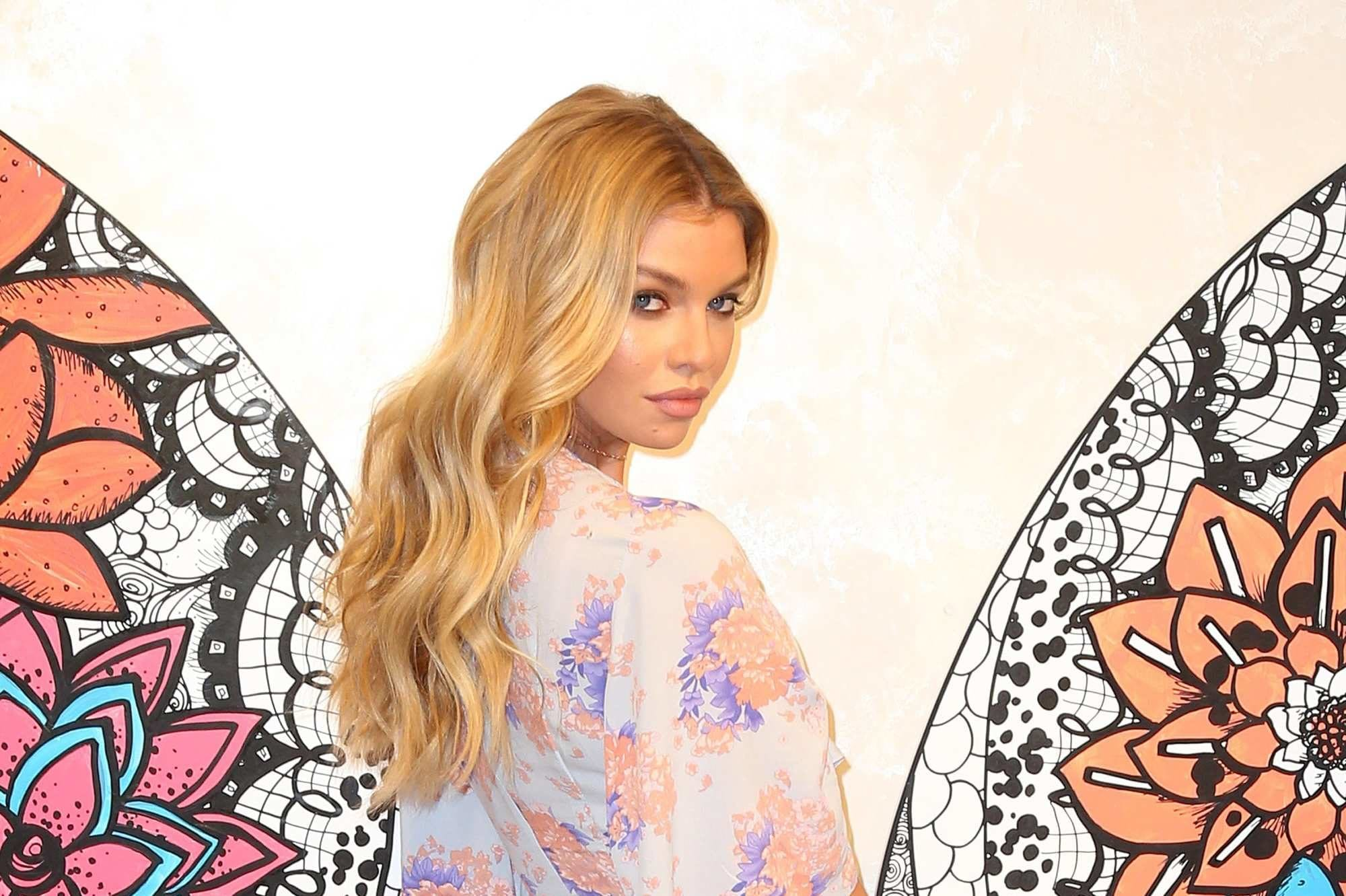 stella maxwell with beach waves hair at the victoria secret event