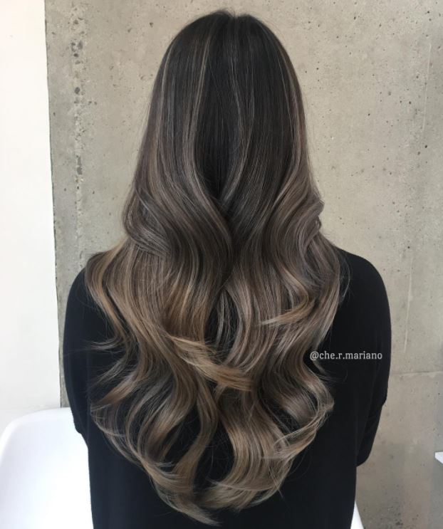Ash brown blend - long loose waves hair - back view