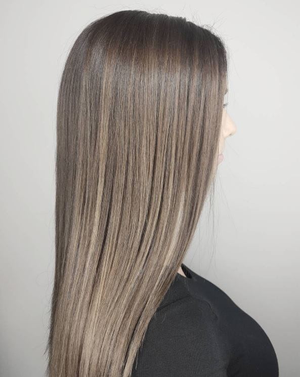 Ash brown hair with smokey balayage finish - long straight hair