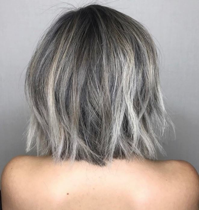 Ash brown long bob with platinum blonde balayage - back view