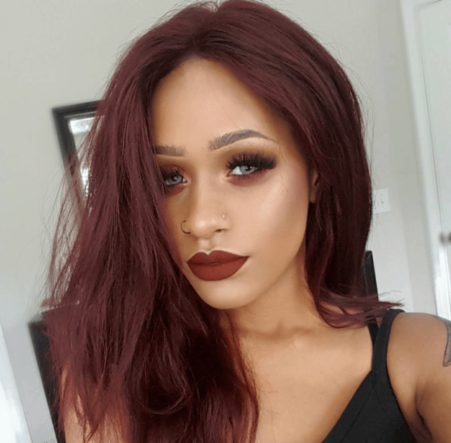 facesbyalexis with chocolate cherry hair colour on instagram