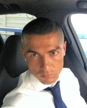 selfie of footballer Cristiano Ronaldo with new shaved head