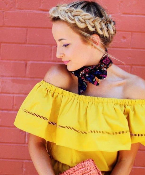 Beach hairstyles - blonde girl with milkmaid braids