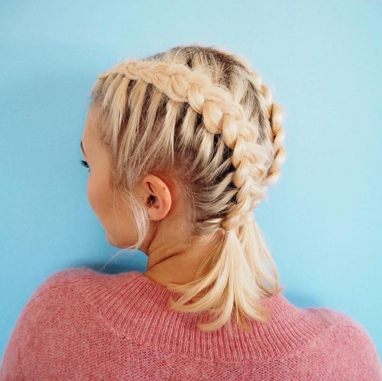 Beach Hairstyles - blonde model with double dutch braids on lob length hair