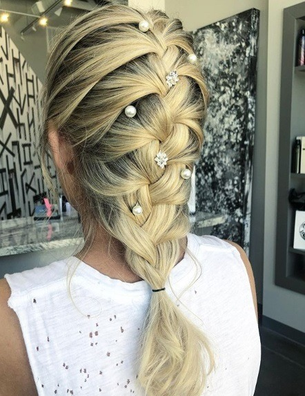 blonde french braid with pearl hair accessories
