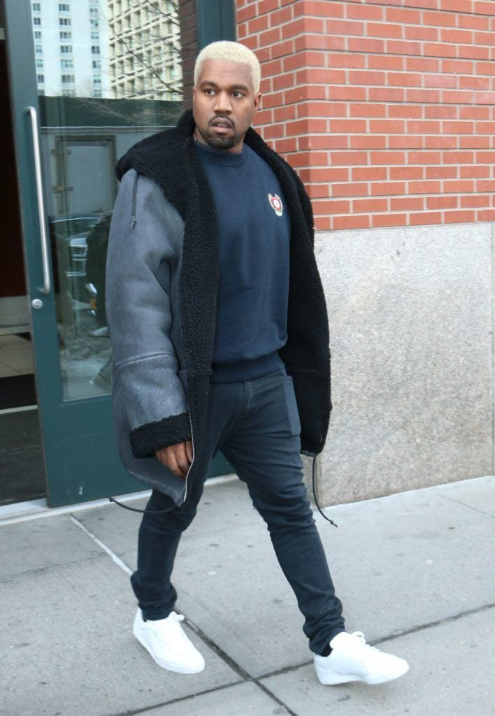 Kanye West in 2017 with bleach blonde hair
