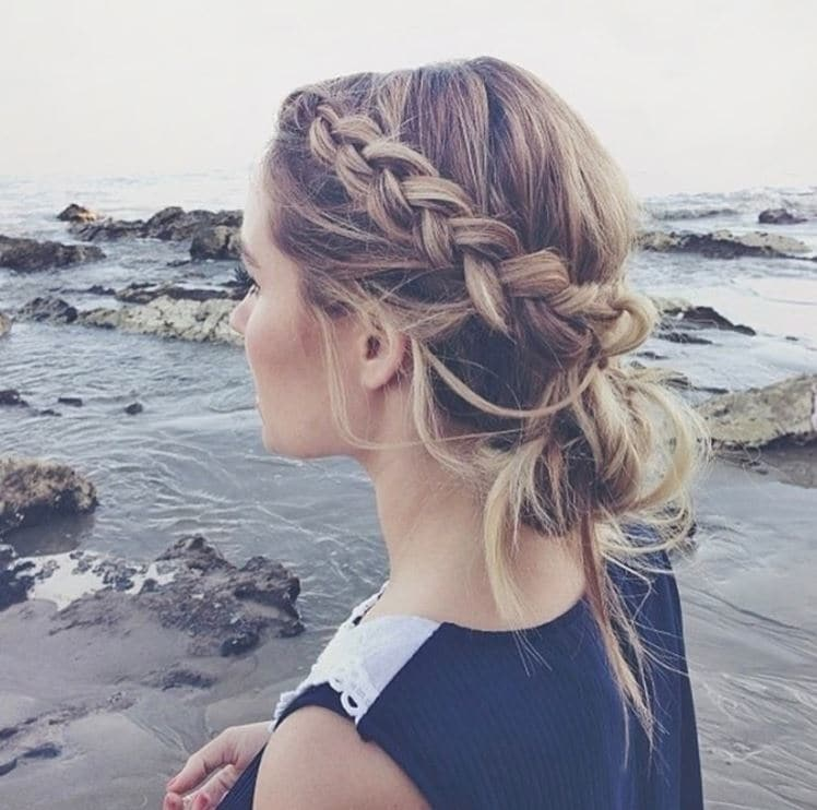 Beach Hairstyles - blonde hair with side braid tucked into a low bun