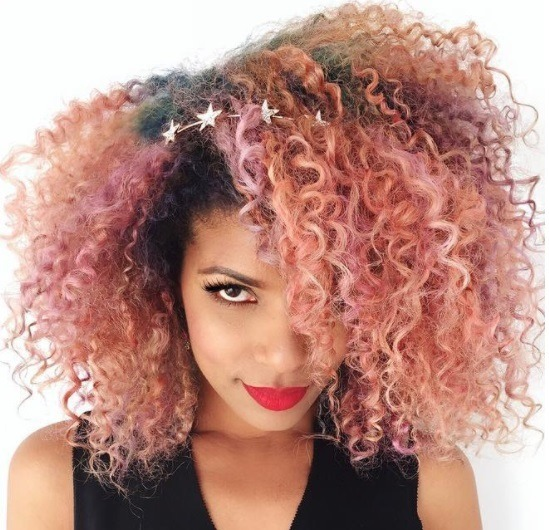 woman with natural hair pink champagne hairstyle