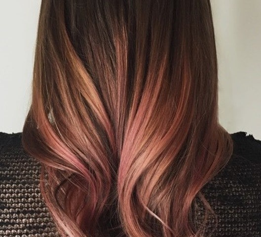 woman with brown and pink champage hair at salon