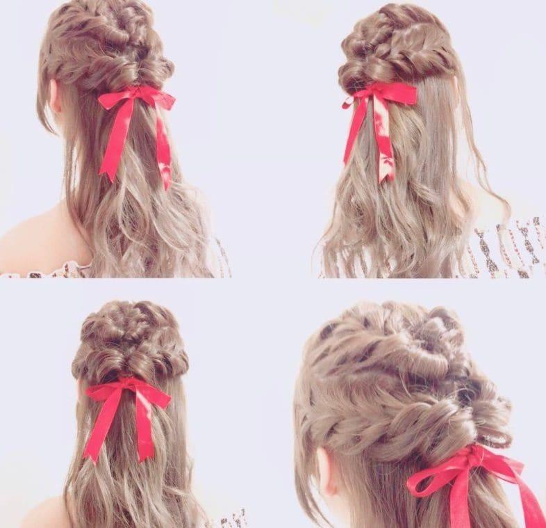 ribbon braid half up half down hairstyle backshot