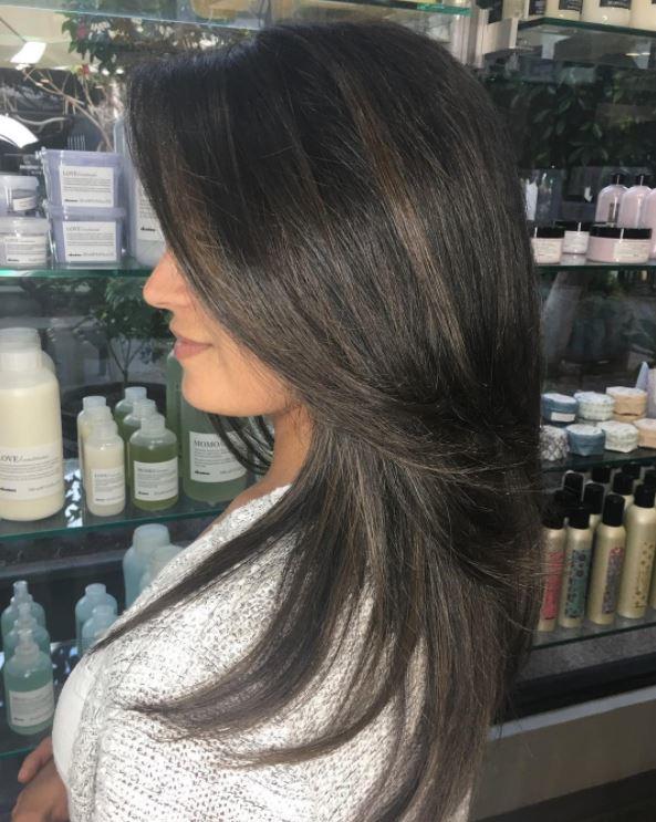 Tonal ash brown hair - long glossy hair - side view