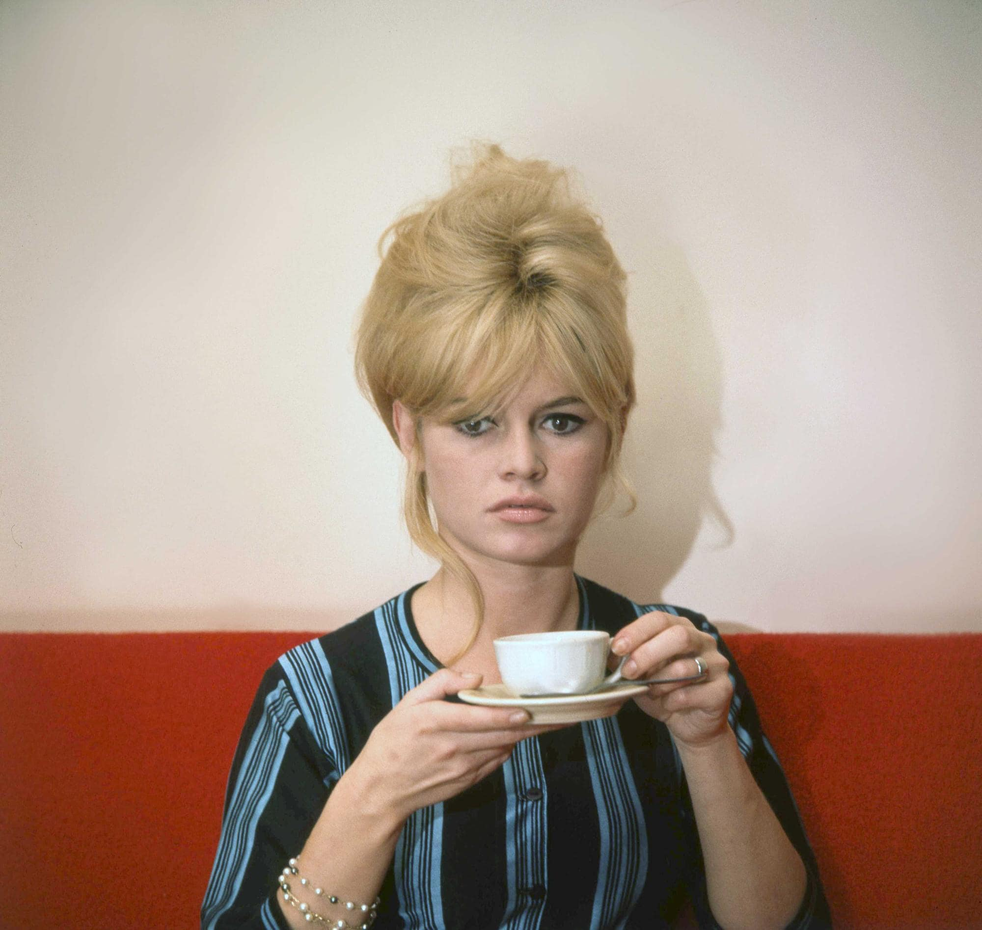french actress brigitte bardot with her hair in an updo haristyle