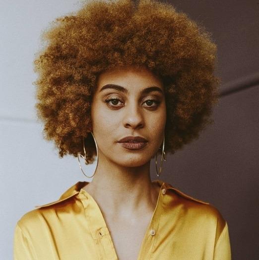 hannahfaith with caramel dark blonde big afro hairstyle Instagram
