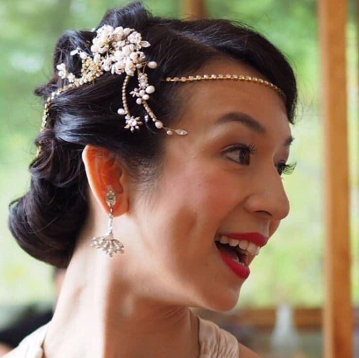 Vintage wedding hairstyles - dark hair in updo with 1920s headband