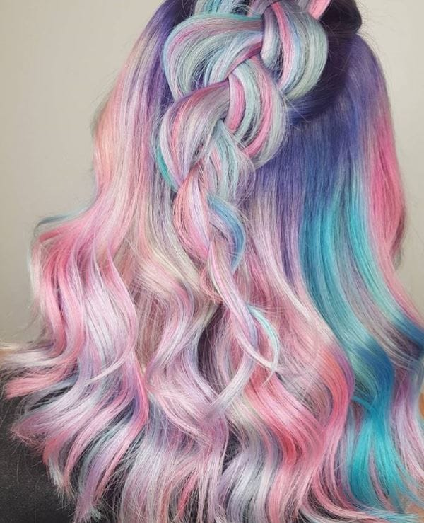 Pastel hair colours - mirage of pastel hair colours in half,up braid wavy style