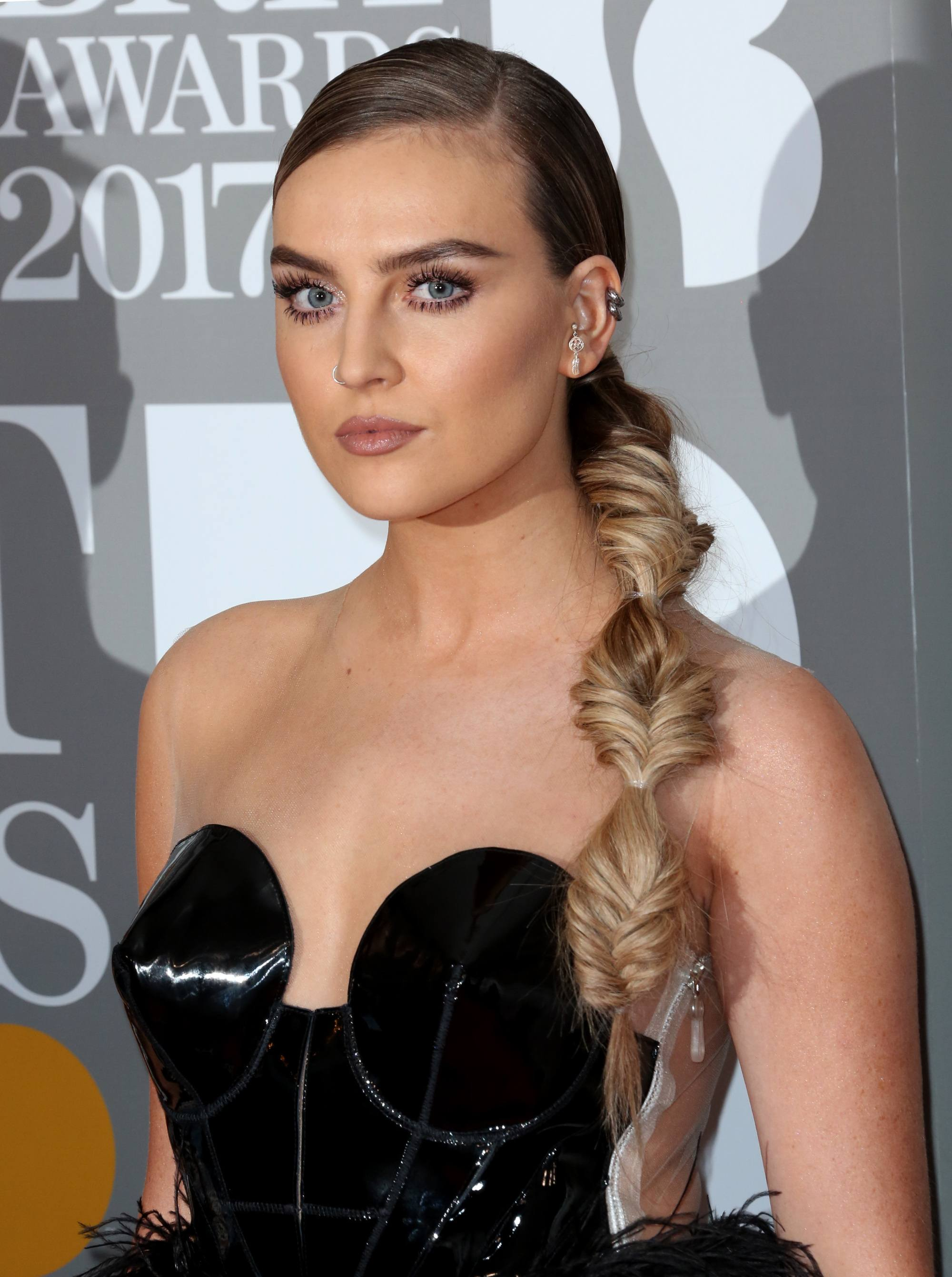 little mix star perrie edwards on the red carpet with her hair in fishtail bubble braids