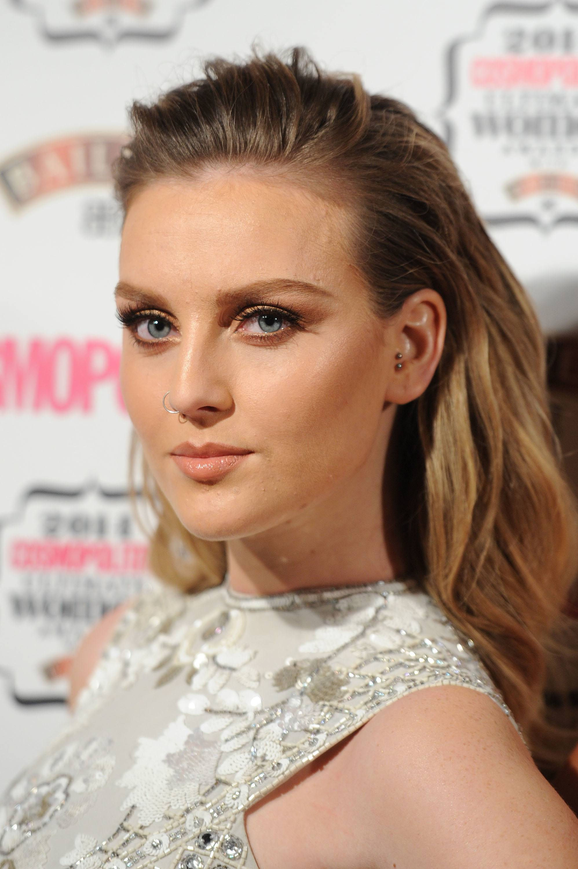 little mix star perrie edwards on the red carpet with pushed back hair