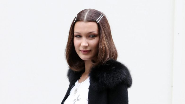 Bella Hadid - curled under dark brunette lob haircut with clips