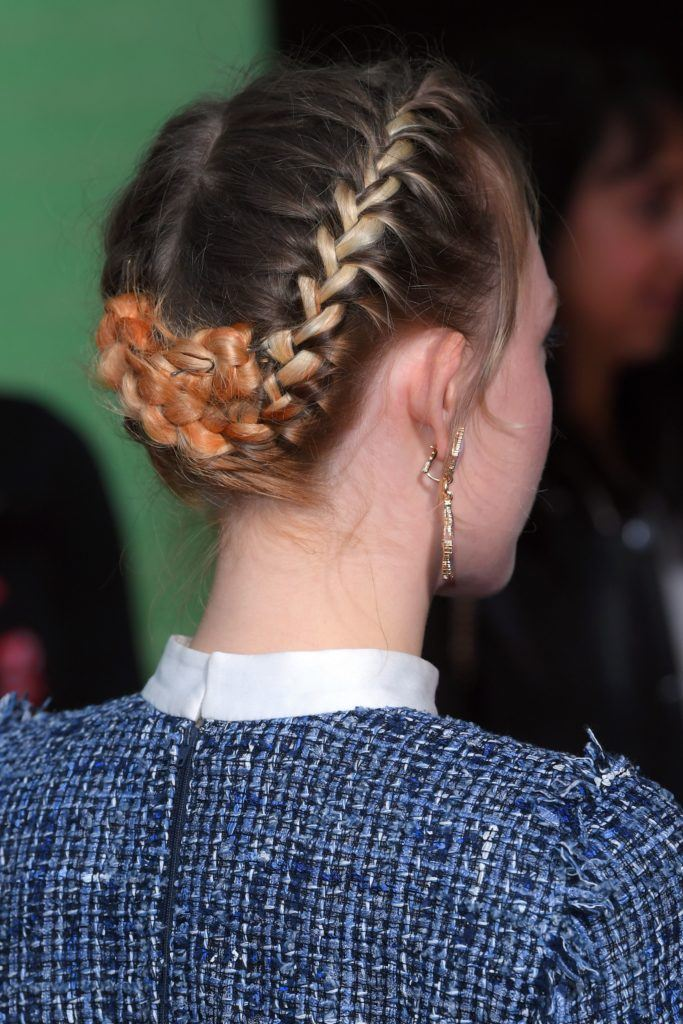 Saoirse Ronan back view of her hair in double dutch braid style pinned up