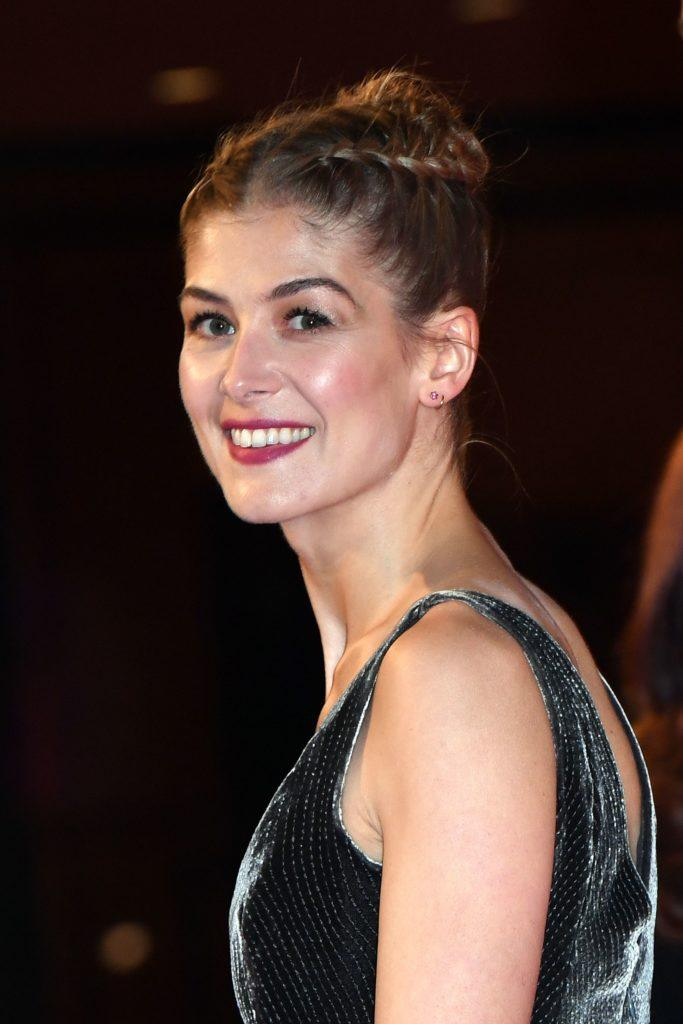 Rosamund Pike with her hair in a double dutch braid hairstyle
