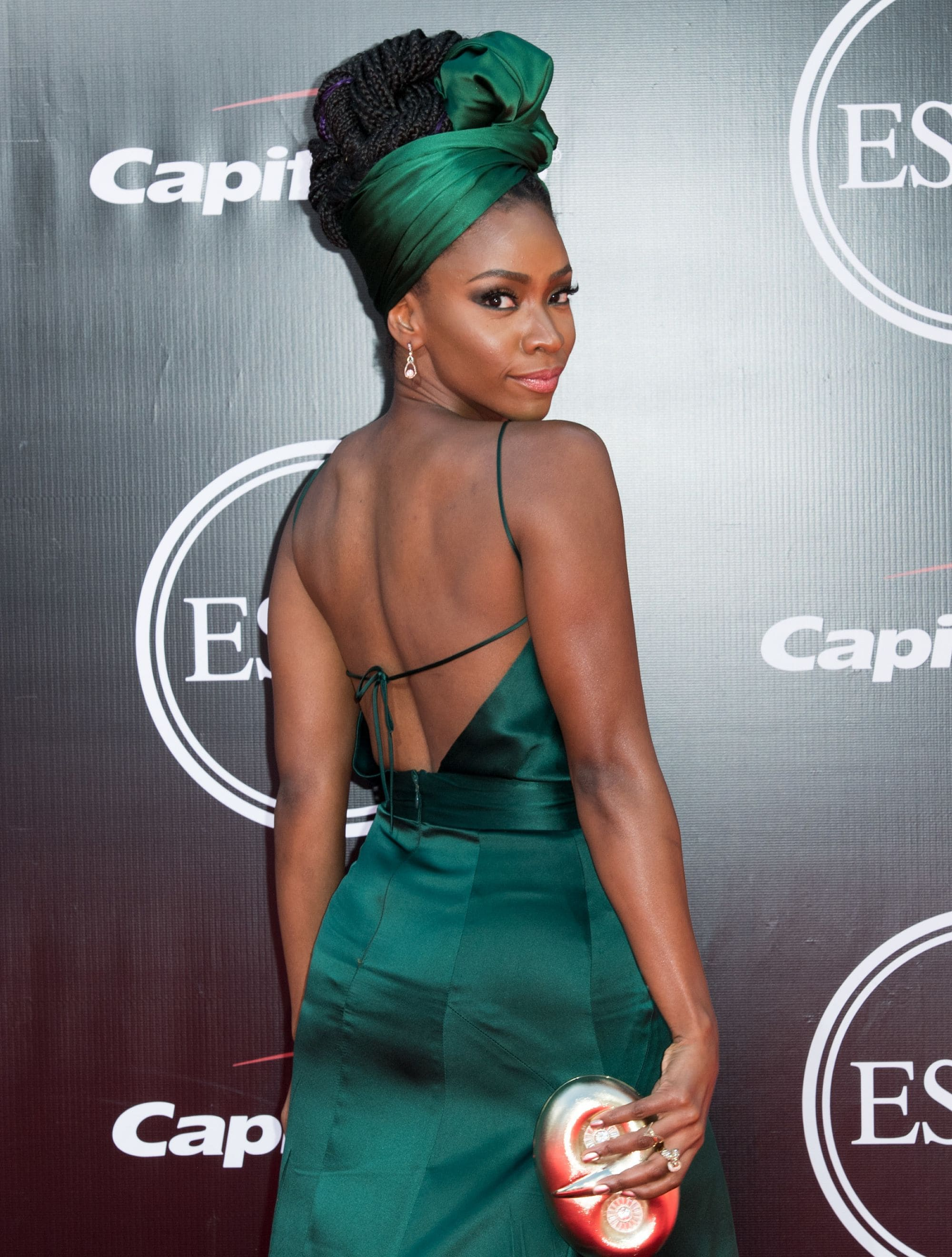 black prom hairstyles: teyonah parris with box braided scarf updo on the red carpet