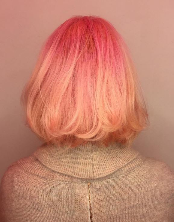 Sushi hair - bob length pastel pink hair with peach tips ombre