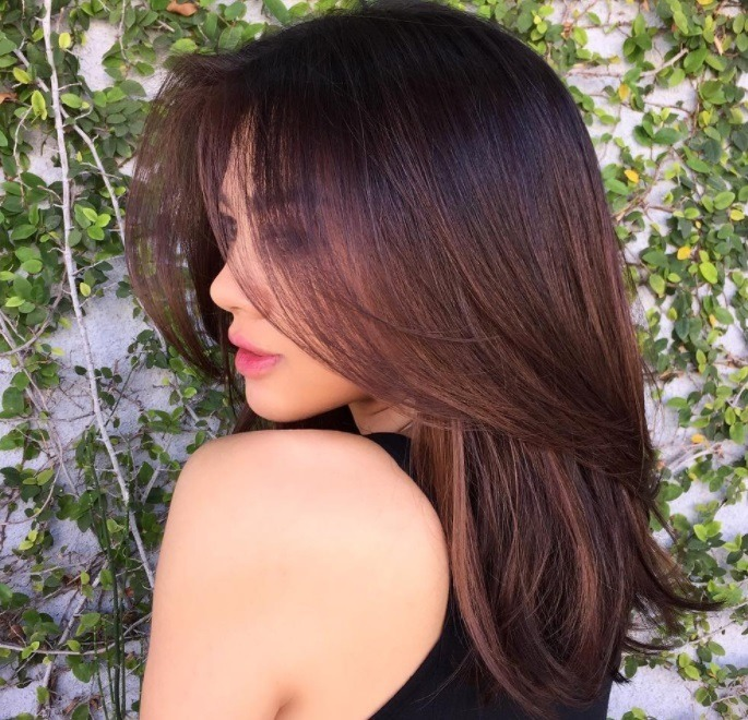 back shot of woman with chestnut hair colour at a salon