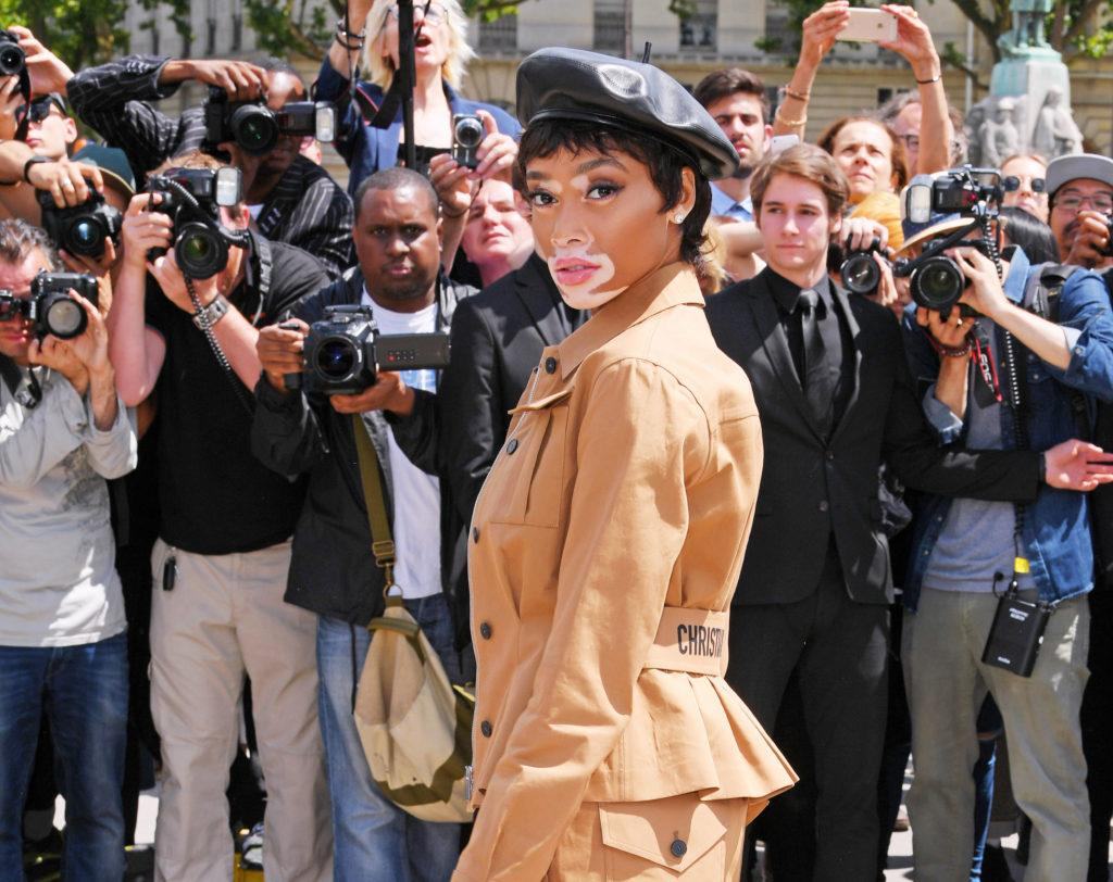 shot of winnie harlow with pixie cut hairstyle on the red carpet