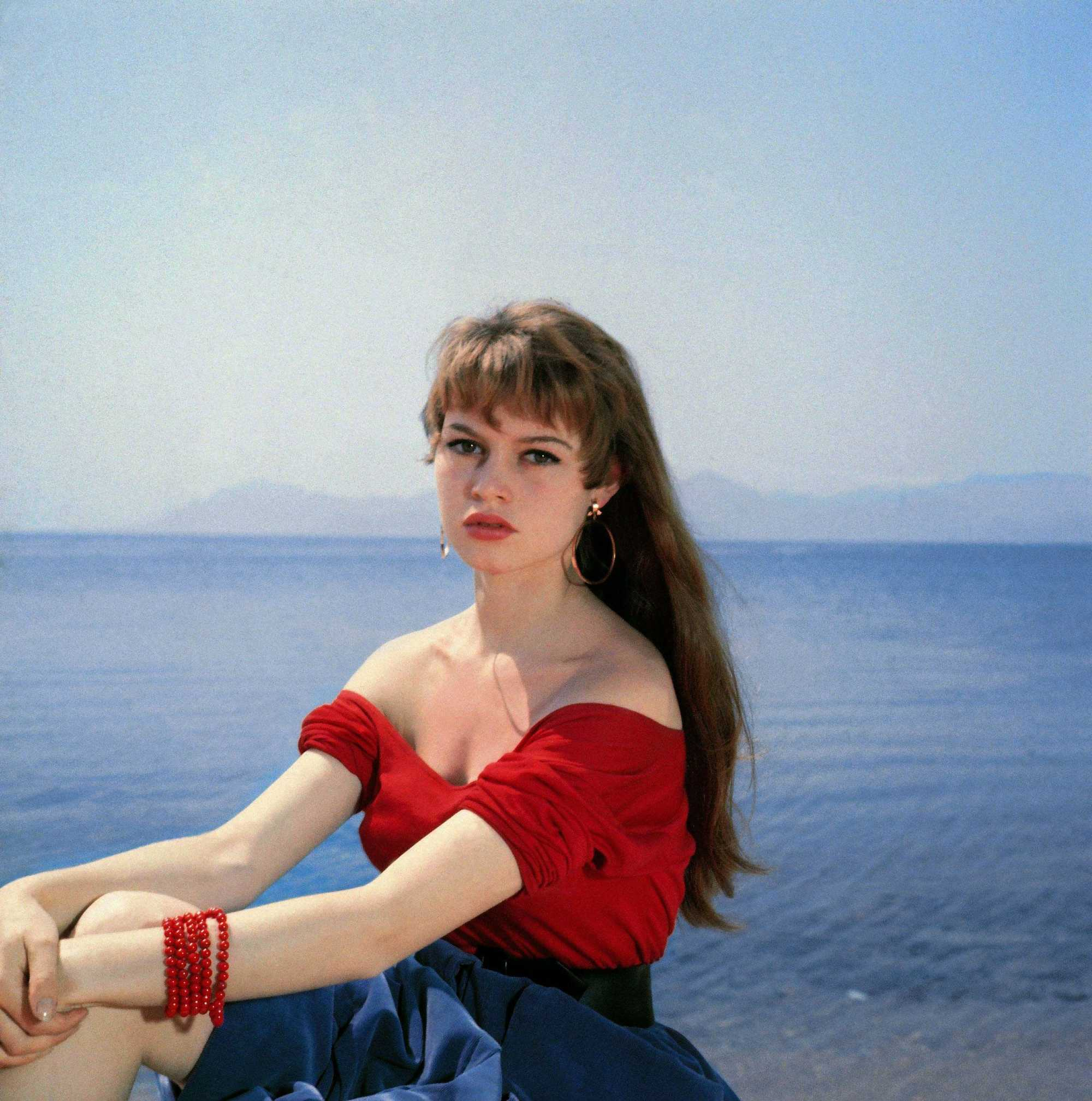 young french actress brigitte bardot with long brunette hair with a fringe