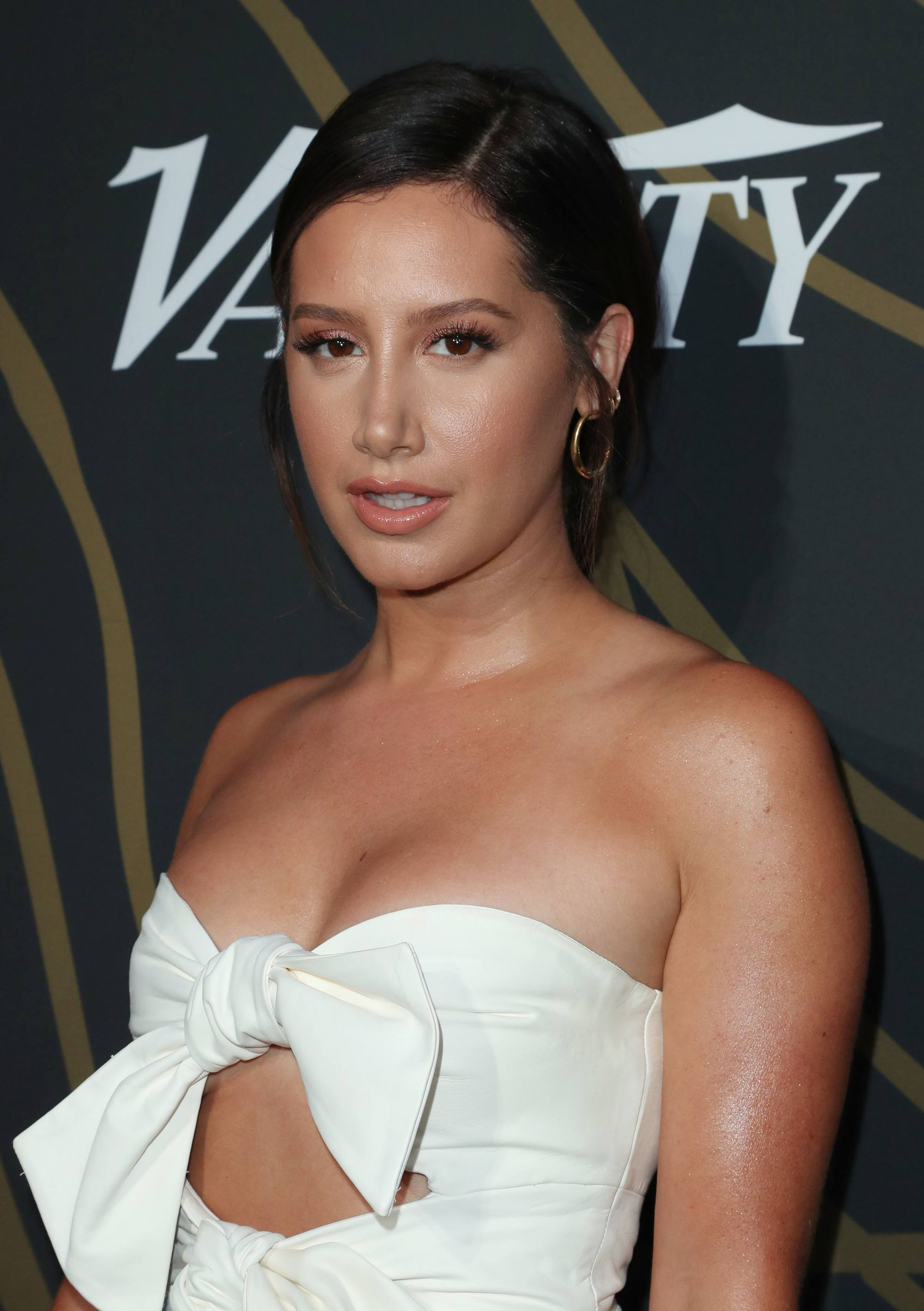 ashley tisdale at the variety's power of young hollywood event with new dark hair colour